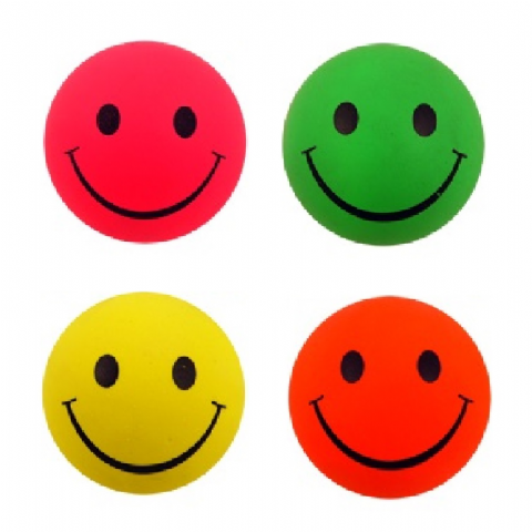 Hi Bounce Smiley Face Hard Sponge Rubber Bouncy Ball Dog - Neon Pink, Yellow, Green or Orange